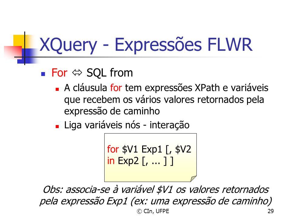© CIn, UFPE29 XQuery - Expressões FLWR For  SQL from A cláusula for tem expressões XPath e variáveis que recebem os vários valores retornados pela ex