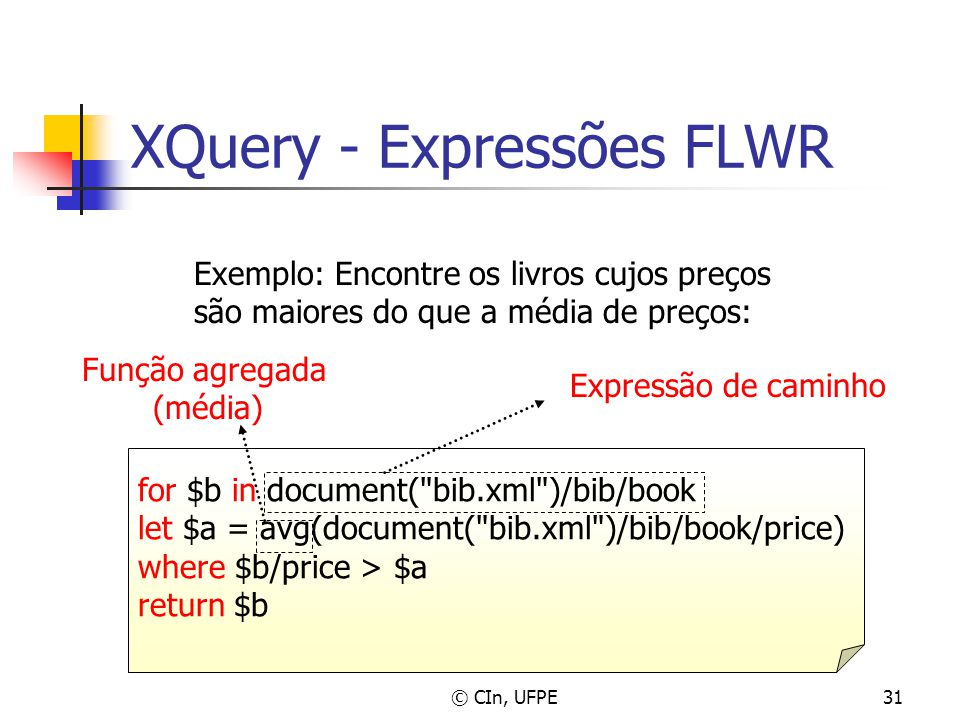 © CIn, UFPE31 XQuery - Expressões FLWR for $b in document(