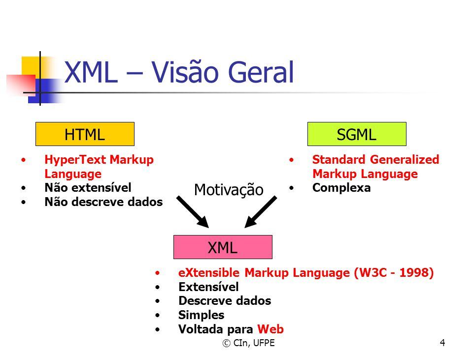 © CIn, UFPE4 XML – Visão Geral HTMLSGML Standard Generalized Markup Language Complexa HyperText Markup Language Não extensível Não descreve dados XML