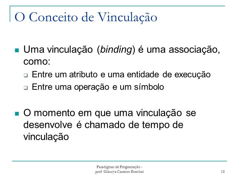 Paradigmas de Programação - prof Gláucya Carreiro Boechat 18 O Conceito de Vinculação Uma vinculação (binding) é uma associação, como:  Entre um atri