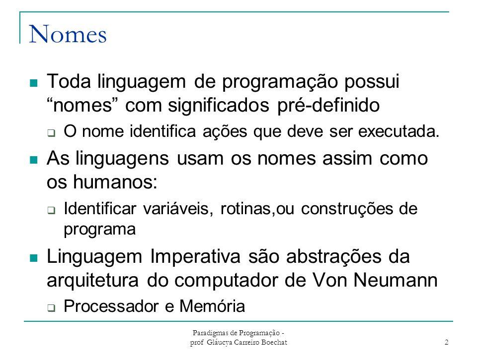 """Paradigmas de Programação - prof Gláucya Carreiro Boechat 2 Nomes Toda linguagem de programação possui """"nomes"""" com significados pré-definido  O nome"""