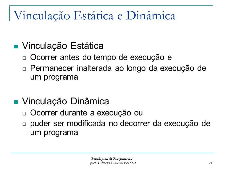 Paradigmas de Programação - prof Gláucya Carreiro Boechat 21 Vinculação Estática e Dinâmica Vinculação Estática  Ocorrer antes do tempo de execução e