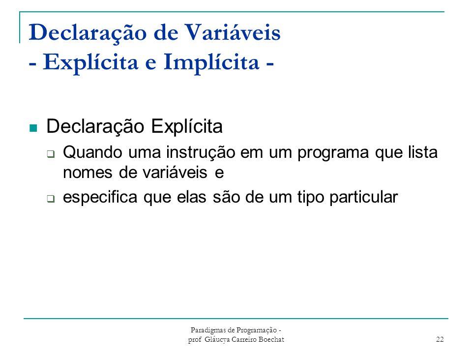 Paradigmas de Programação - prof Gláucya Carreiro Boechat 22 Declaração de Variáveis - Explícita e Implícita - Declaração Explícita  Quando uma instr