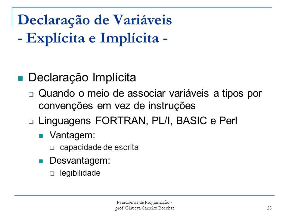 Paradigmas de Programação - prof Gláucya Carreiro Boechat 23 Declaração de Variáveis - Explícita e Implícita - Declaração Implícita  Quando o meio de