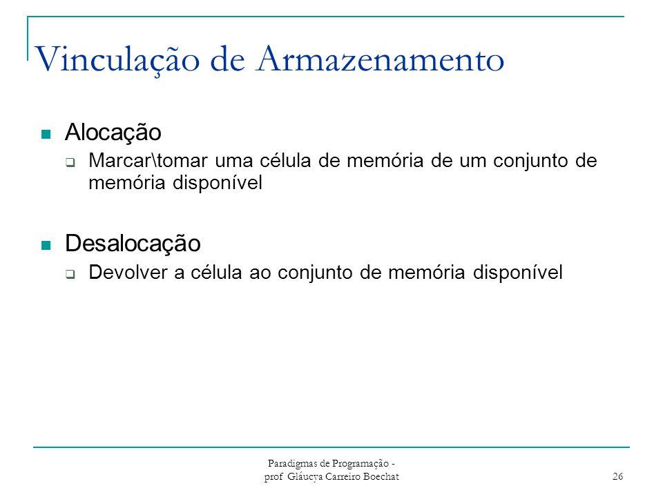 Paradigmas de Programação - prof Gláucya Carreiro Boechat 26 Vinculação de Armazenamento Alocação  Marcar\tomar uma célula de memória de um conjunto