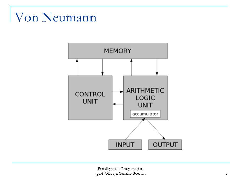 Paradigmas de Programação - prof Gláucya Carreiro Boechat 3 Von Neumann