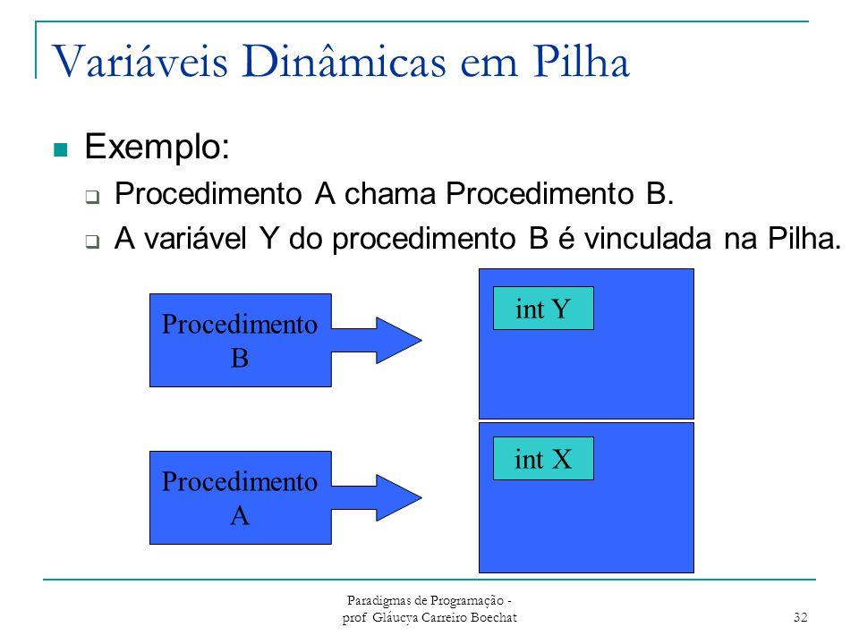 Paradigmas de Programação - prof Gláucya Carreiro Boechat 32 Variáveis Dinâmicas em Pilha Exemplo:  Procedimento A chama Procedimento B.  A variável