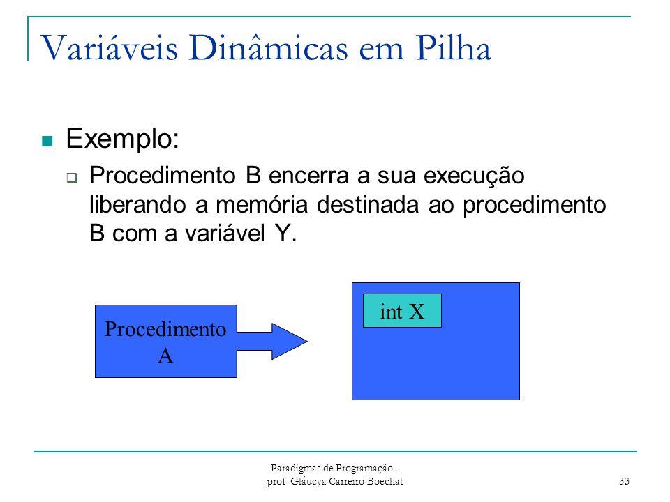 Paradigmas de Programação - prof Gláucya Carreiro Boechat 33 Variáveis Dinâmicas em Pilha Exemplo:  Procedimento B encerra a sua execução liberando a