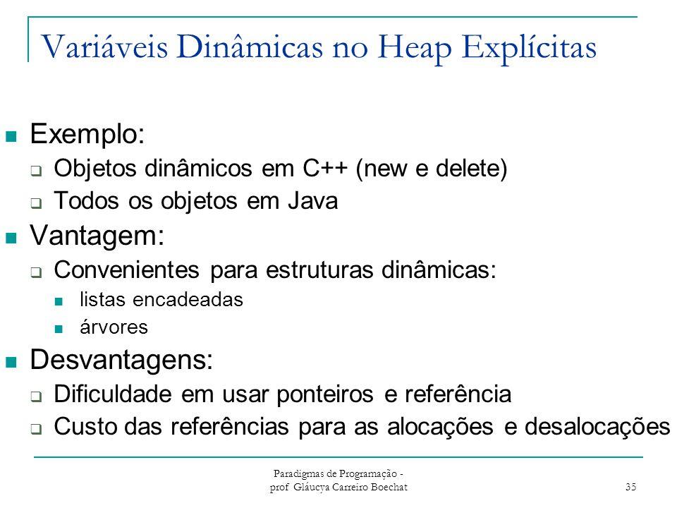 Paradigmas de Programação - prof Gláucya Carreiro Boechat 35 Variáveis Dinâmicas no Heap Explícitas Exemplo:  Objetos dinâmicos em C++ (new e delete)