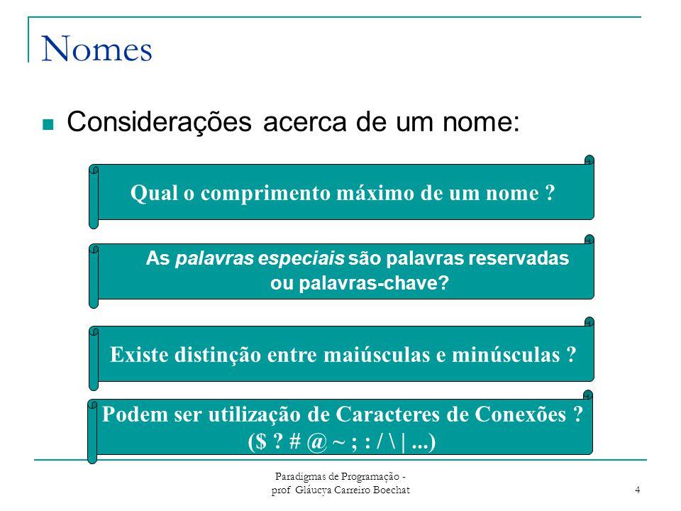 Paradigmas de Programação - prof Gláucya Carreiro Boechat 4 Nomes Considerações acerca de um nome: Qual o comprimento máximo de um nome ? As palavras