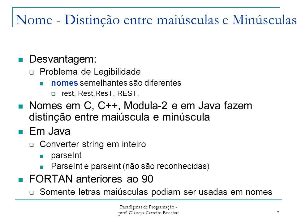 Paradigmas de Programação - prof Gláucya Carreiro Boechat 7 Nome - Distinção entre maiúsculas e Minúsculas Desvantagem:  Problema de Legibilidade nom
