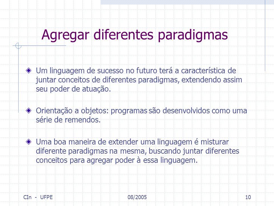 CIn - UFPE08/200510 Agregar diferentes paradigmas Um linguagem de sucesso no futuro terá a característica de juntar conceitos de diferentes paradigmas