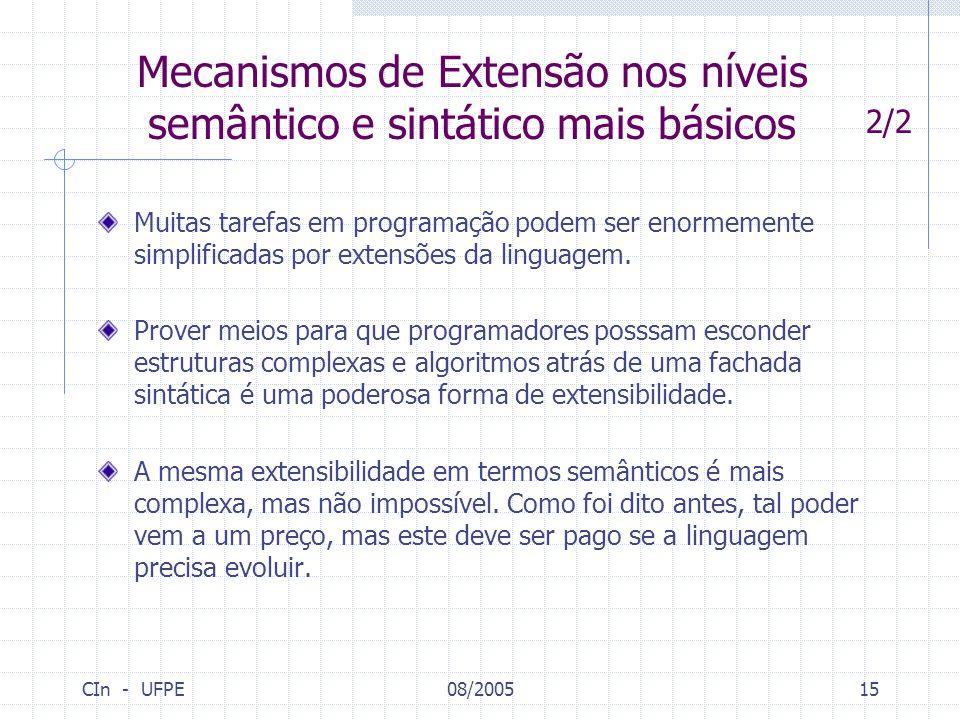 CIn - UFPE08/200515 Muitas tarefas em programação podem ser enormemente simplificadas por extensões da linguagem. Prover meios para que programadores