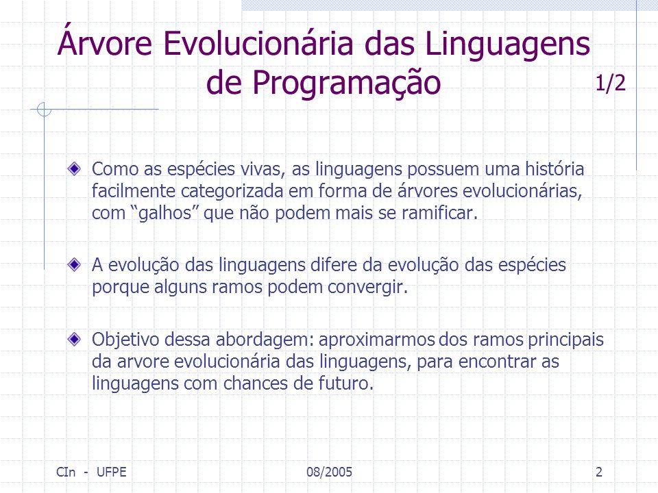 CIn - UFPE08/20052 Árvore Evolucionária das Linguagens de Programação Como as espécies vivas, as linguagens possuem uma história facilmente categoriza
