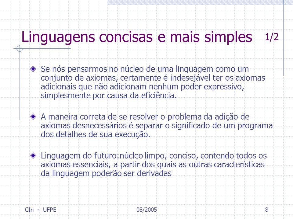 CIn - UFPE08/20058 Linguagens concisas e mais simples Se nós pensarmos no núcleo de uma linguagem como um conjunto de axiomas, certamente é indesejáve