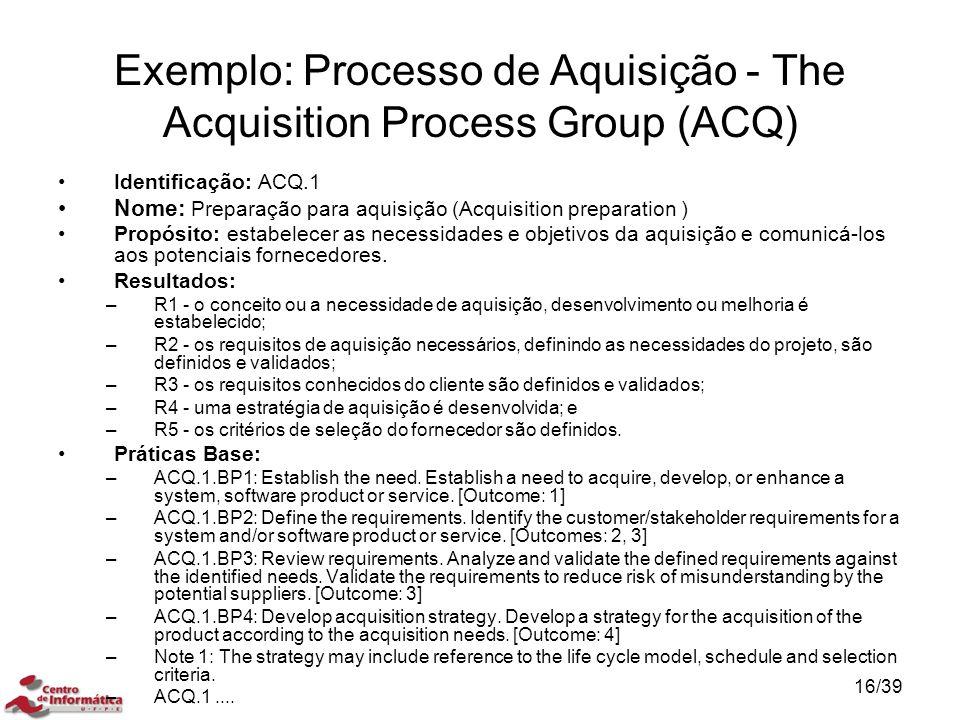 Identificação: ACQ.1 Nome: Preparação para aquisição (Acquisition preparation ) Propósito: estabelecer as necessidades e objetivos da aquisição e comu