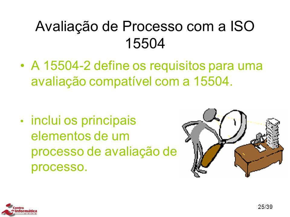 Avaliação de Processo com a ISO 15504 A 15504-2 define os requisitos para uma avaliação compatível com a 15504. inclui os principais elementos de um p