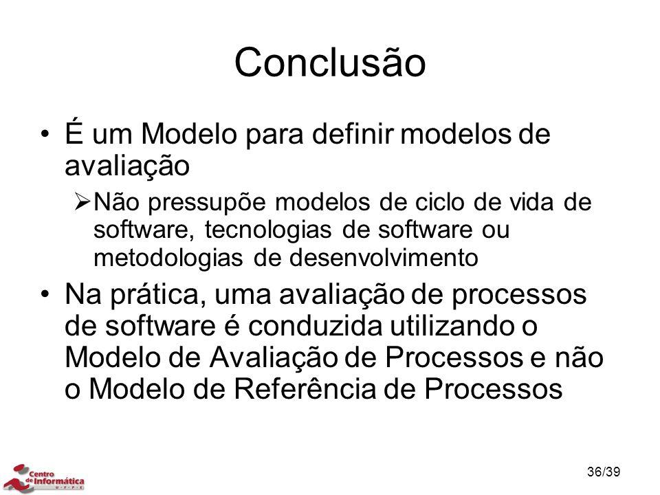Conclusão É um Modelo para definir modelos de avaliação  Não pressupõe modelos de ciclo de vida de software, tecnologias de software ou metodologias