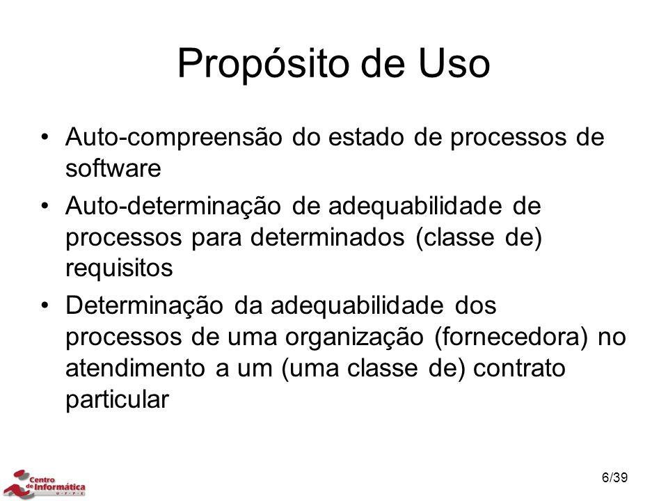 Propósito de Uso Auto-compreensão do estado de processos de software Auto-determinação de adequabilidade de processos para determinados (classe de) re