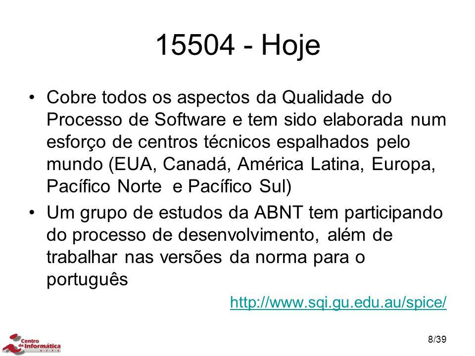 15504 - Hoje Cobre todos os aspectos da Qualidade do Processo de Software e tem sido elaborada num esforço de centros técnicos espalhados pelo mundo (