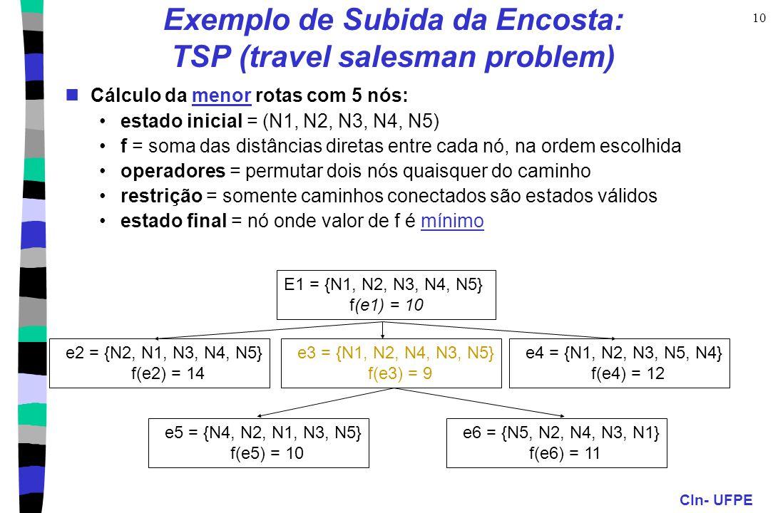 CIn- UFPE 10 Exemplo de Subida da Encosta: TSP (travel salesman problem) Cálculo da menor rotas com 5 nós: estado inicial = (N1, N2, N3, N4, N5) f = s