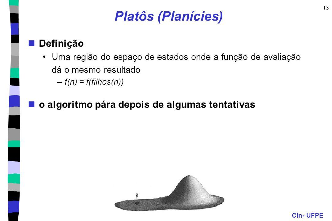 CIn- UFPE 13 Platôs (Planícies) Definição Uma região do espaço de estados onde a função de avaliação dá o mesmo resultado –f(n) = f(filhos(n)) o algor