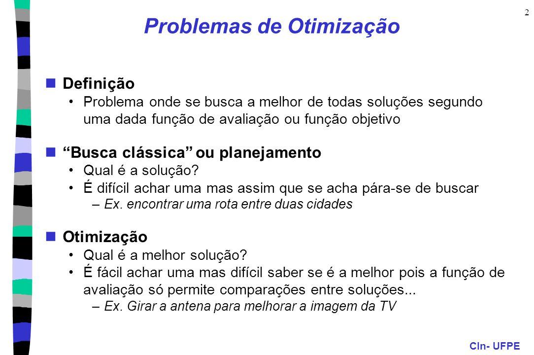 CIn- UFPE 2 Problemas de Otimização Definição Problema onde se busca a melhor de todas soluções segundo uma dada função de avaliação ou função objetiv