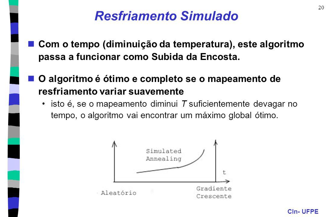 CIn- UFPE 20 Resfriamento Simulado Com o tempo (diminuição da temperatura), este algoritmo passa a funcionar como Subida da Encosta. O algoritmo é óti