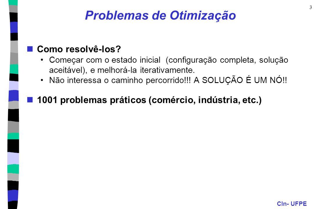 CIn- UFPE 3 Problemas de Otimização Como resolvê-los? Começar com o estado inicial (configuração completa, solução aceitável), e melhorá-la iterativam