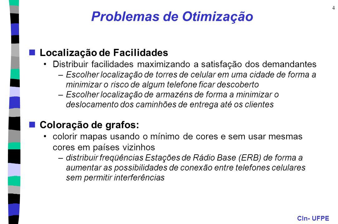 CIn- UFPE 4 Problemas de Otimização Localização de Facilidades Distribuir facilidades maximizando a satisfação dos demandantes –Escolher localização d
