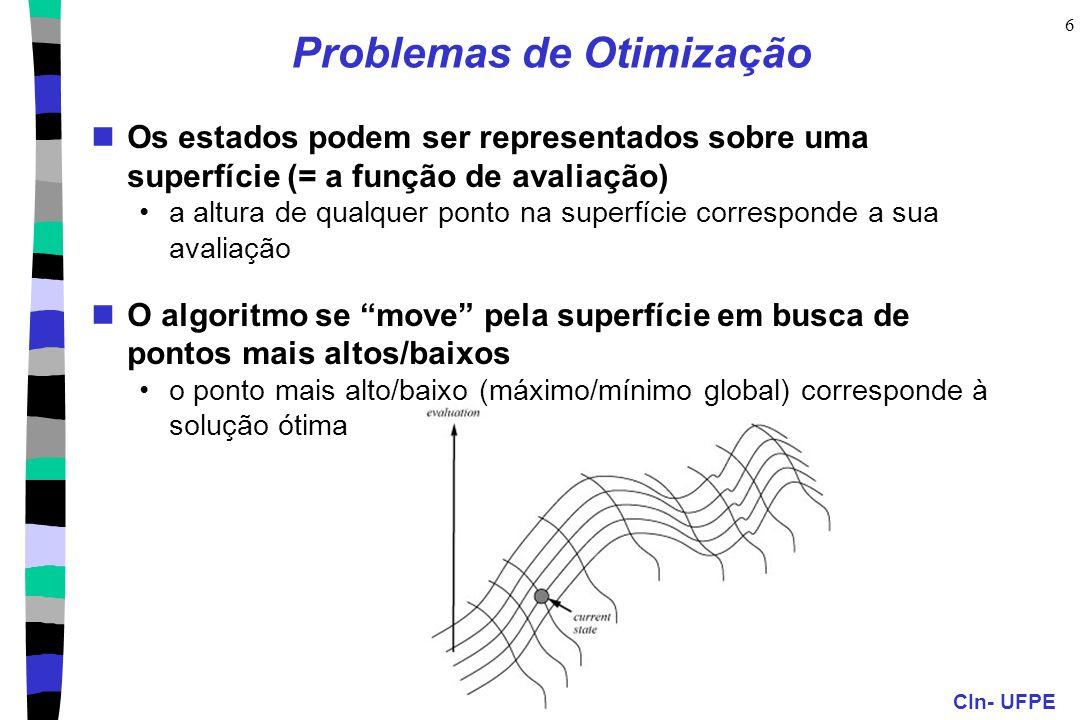 CIn- UFPE 6 Problemas de Otimização Os estados podem ser representados sobre uma superfície (= a função de avaliação) a altura de qualquer ponto na su