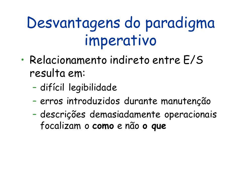 """Vantagens do modelo imperativo Eficiência (embute modelo de Von Neumann) Modelagem """"natural"""" de aplicações do mundo real Paradigma dominante e bem est"""