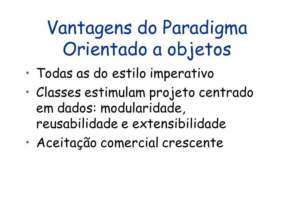 Modelo Computacional do Paradigma Orientado a Objetos Entrada Programa Saída Estado.....................