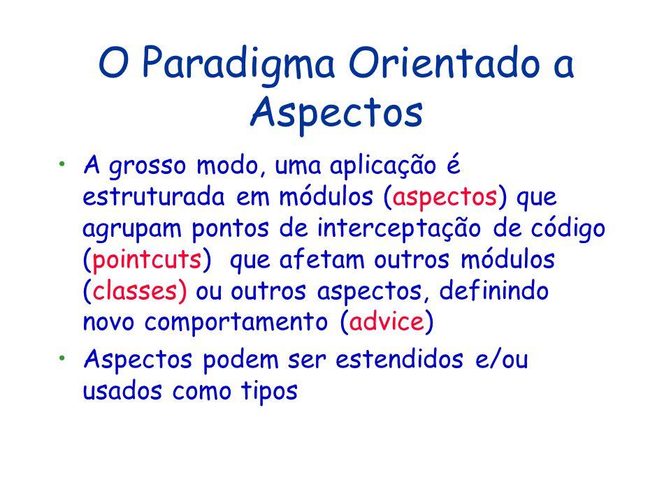 O Paradigma Orientado a Aspectos Não é um paradigma no sentido estrito A diferença é mais de metodologia quanto à concepção e modelagem do sistema É u