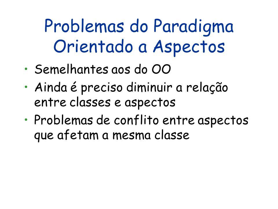 Vantagens do Paradigma Orientado a Aspectos Todas as do paradigma OO Útil para modularizar conceitos que a Orientação a Objetos não consegue (crosscut