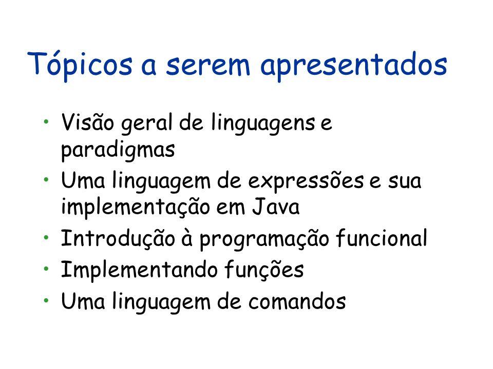 Objetivos Análise crítica de paradigmas e linguagens de programação: Visão geral dos paradigmas imperativo, orientado a objetos e funcional Discutir a