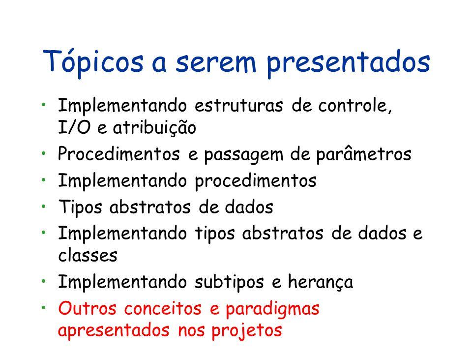 Tópicos a serem apresentados Visão geral de linguagens e paradigmas Uma linguagem de expressões e sua implementação em Java Introdução à programação f