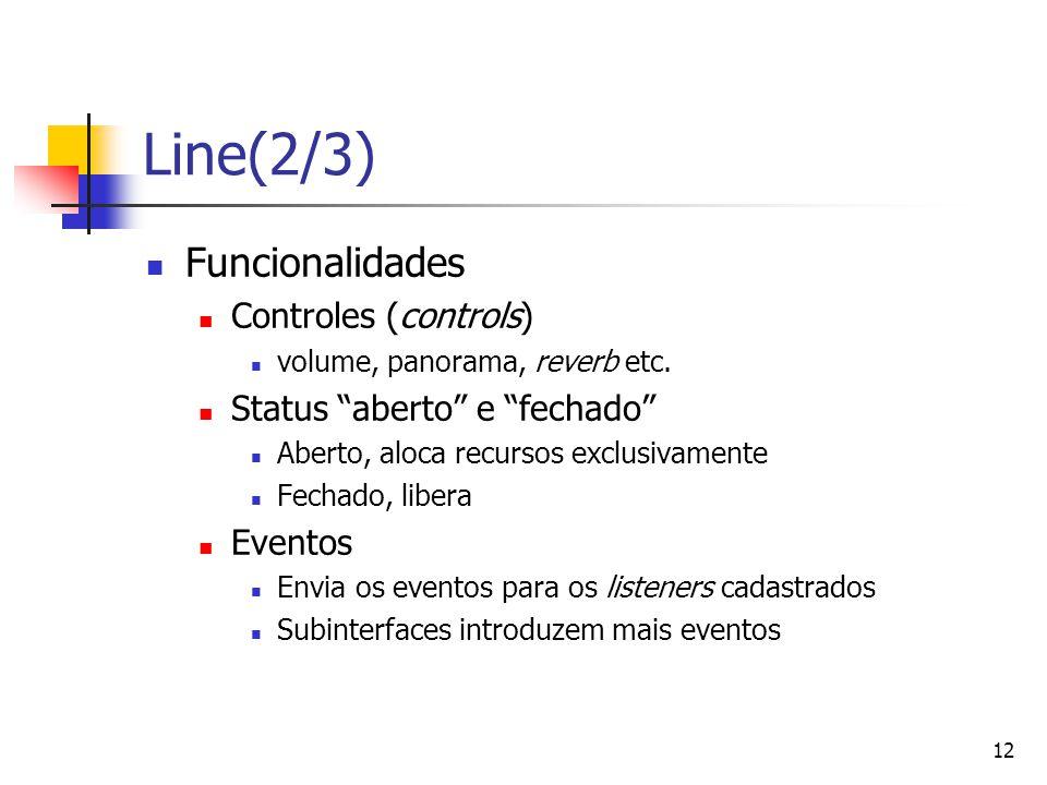 "12 Line(2/3) Funcionalidades Controles (controls) volume, panorama, reverb etc. Status ""aberto"" e ""fechado"" Aberto, aloca recursos exclusivamente Fech"