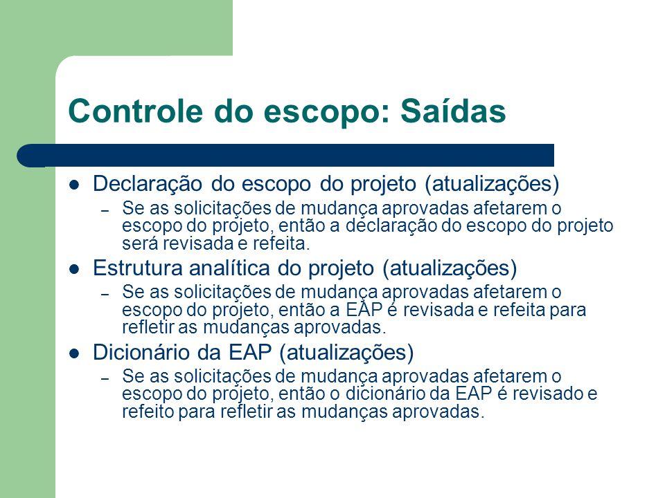 Controle do escopo: Saídas Declaração do escopo do projeto (atualizações) – Se as solicitações de mudança aprovadas afetarem o escopo do projeto, então a declaração do escopo do projeto será revisada e refeita.