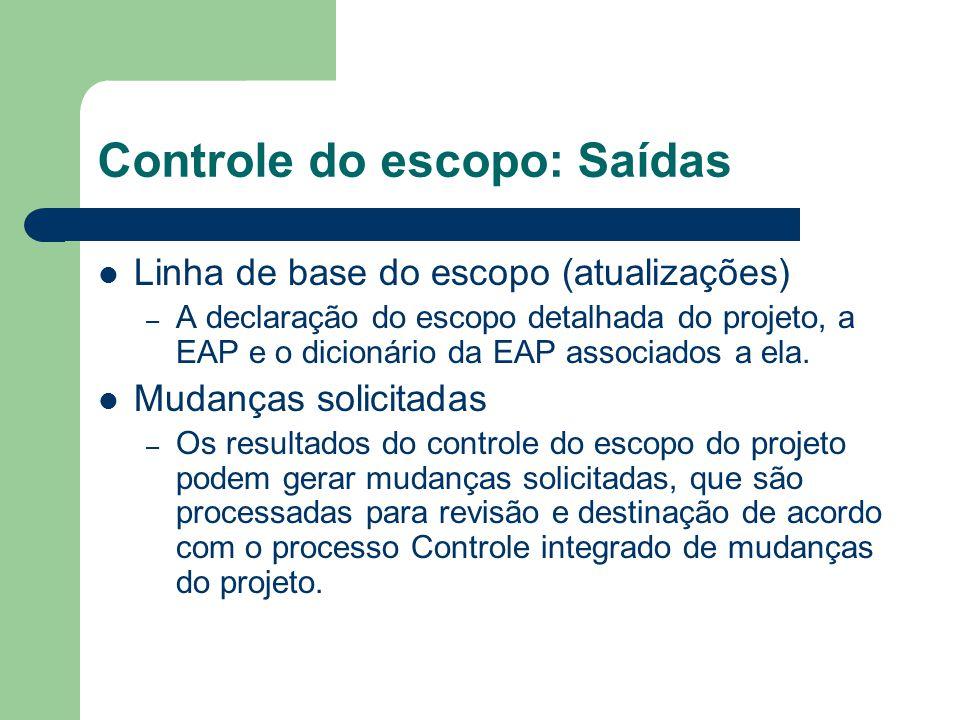 Controle do escopo: Saídas Linha de base do escopo (atualizações) – A declaração do escopo detalhada do projeto, a EAP e o dicionário da EAP associados a ela.