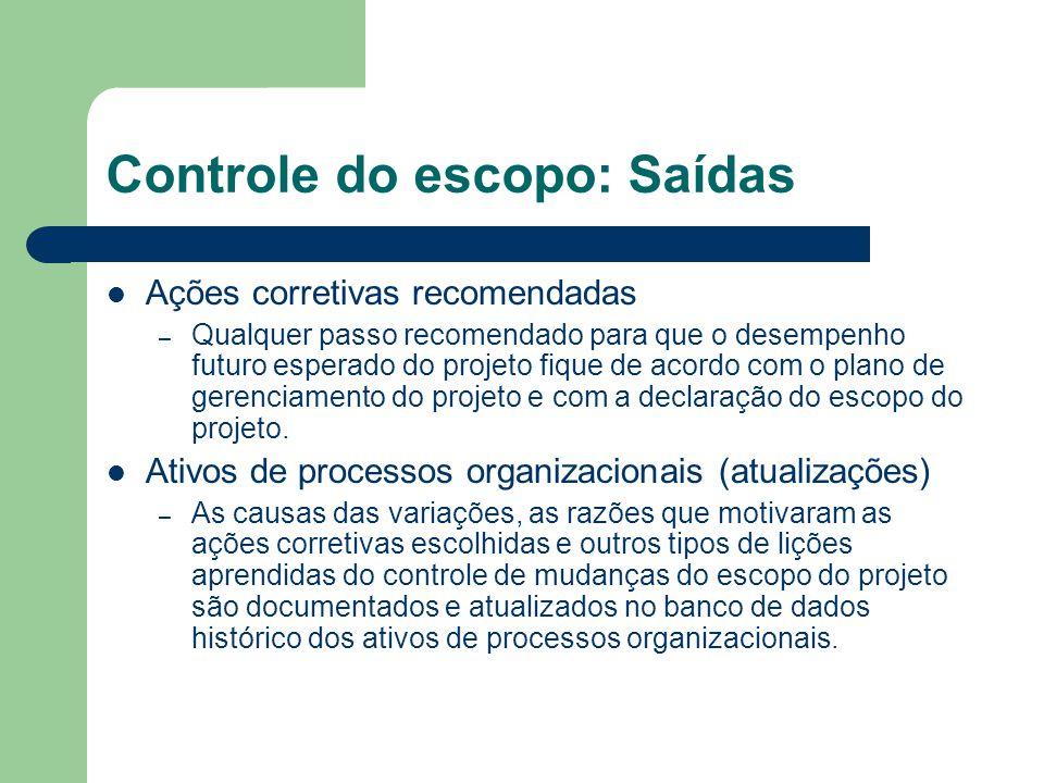 Controle do escopo: Saídas Ações corretivas recomendadas – Qualquer passo recomendado para que o desempenho futuro esperado do projeto fique de acordo com o plano de gerenciamento do projeto e com a declaração do escopo do projeto.
