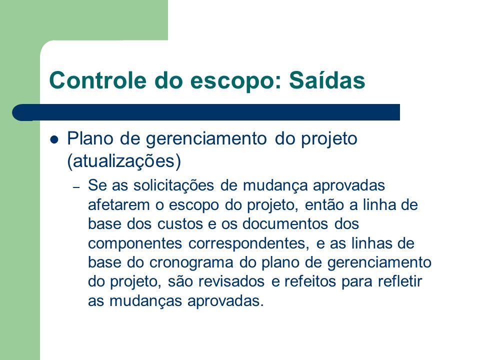 Controle do escopo: Saídas Plano de gerenciamento do projeto (atualizações) – Se as solicitações de mudança aprovadas afetarem o escopo do projeto, en