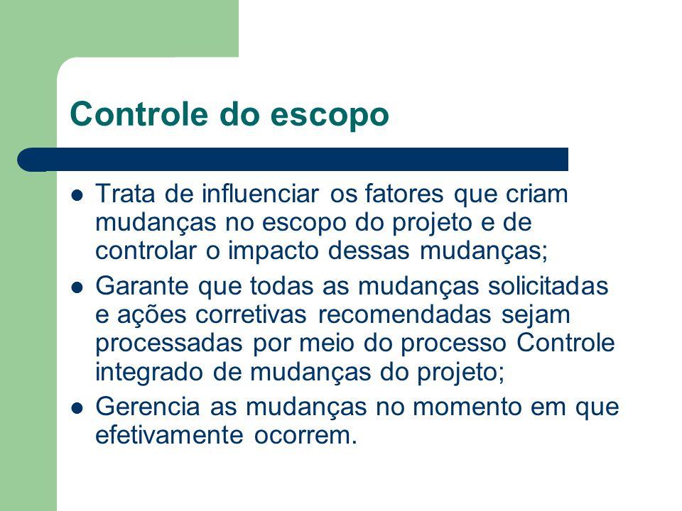 Controle do escopo Trata de influenciar os fatores que criam mudanças no escopo do projeto e de controlar o impacto dessas mudanças; Garante que todas