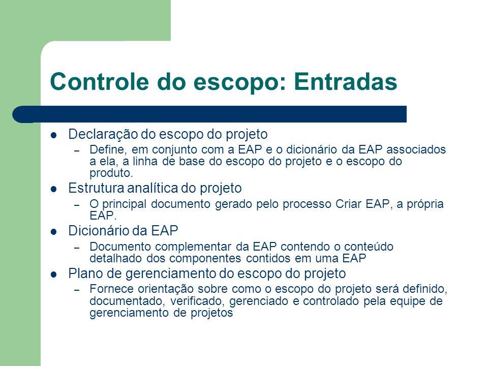 Controle do escopo: Entradas Declaração do escopo do projeto – Define, em conjunto com a EAP e o dicionário da EAP associados a ela, a linha de base do escopo do projeto e o escopo do produto.