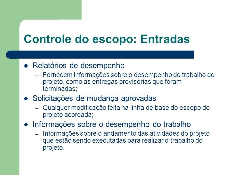 Controle do escopo: Entradas Relatórios de desempenho – Fornecem informações sobre o desempenho do trabalho do projeto, como as entregas provisórias q