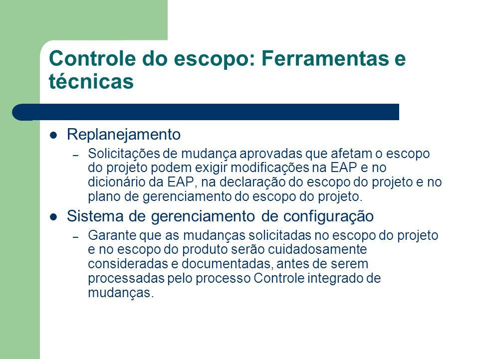 Controle do escopo: Ferramentas e técnicas Replanejamento – Solicitações de mudança aprovadas que afetam o escopo do projeto podem exigir modificações na EAP e no dicionário da EAP, na declaração do escopo do projeto e no plano de gerenciamento do escopo do projeto.