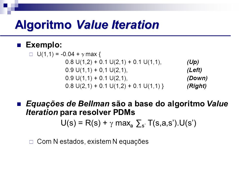Algoritmo Value Iteration Exemplo:  U(1,1) = -0.04 +  max { 0.8 U(1,2) + 0.1 U(2,1) + 0.1 U(1,1),(Up) 0.9 U(1,1) + 0,1 U(2,1),(Left) 0.9 U(1,1) + 0.