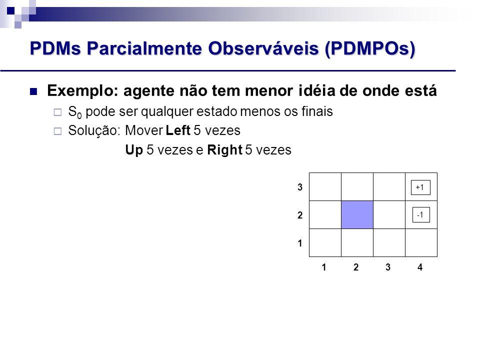 PDMs Parcialmente Observáveis (PDMPOs) Exemplo: agente não tem menor idéia de onde está  S 0 pode ser qualquer estado menos os finais  Solução: Mover Left 5 vezes Up 5 vezes e Right 5 vezes 1243 3 2 1 +1