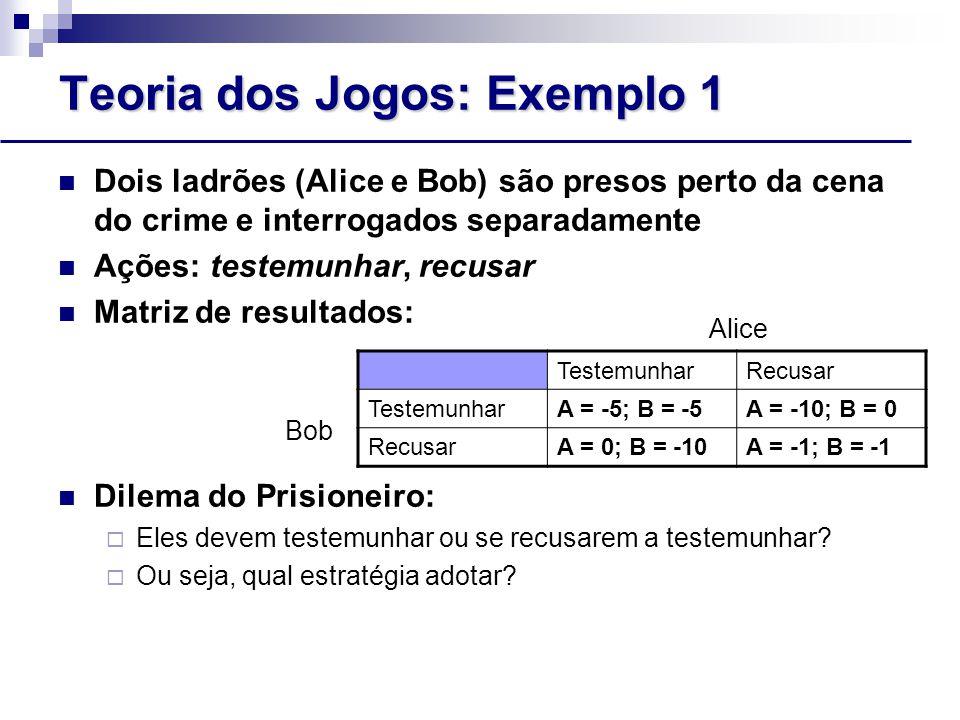 Teoria dos Jogos: Exemplo 1 Dois ladrões (Alice e Bob) são presos perto da cena do crime e interrogados separadamente Ações: testemunhar, recusar Matriz de resultados: Dilema do Prisioneiro:  Eles devem testemunhar ou se recusarem a testemunhar.