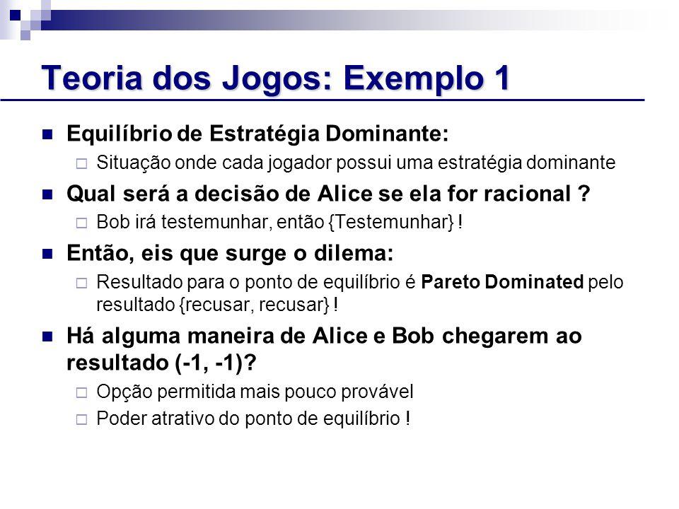 Teoria dos Jogos: Exemplo 1 Equilíbrio de Estratégia Dominante:  Situação onde cada jogador possui uma estratégia dominante Qual será a decisão de Alice se ela for racional .